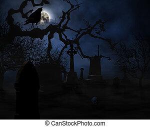 halloween - scary night scene on graveyard illustration