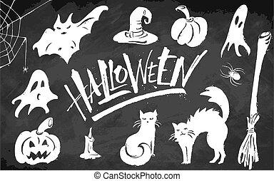 Halloween clipart set on blackboard background