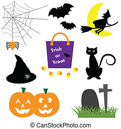 Halloween pumpkins witch cat bats spider web