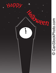 A silhouette of a clock tower moments before midnight at Halloween with stars and text