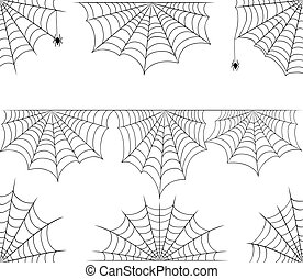 Halloween cobweb vector frame border and dividers isolated...