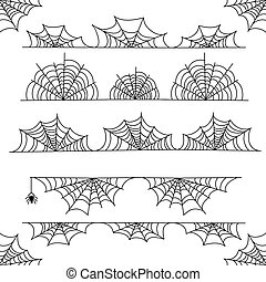 Halloween cobweb vector frame border and dividers with...