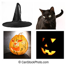 Halloween collage: witch hat, black cat, Jack-o\'-lanterns