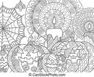 halloween, coloration, citrouille