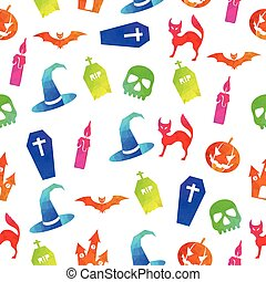Halloween colorful seamless pattern background.