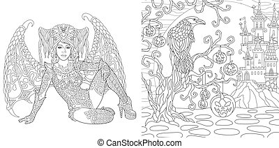 Halloween coloring pages with vampire girl