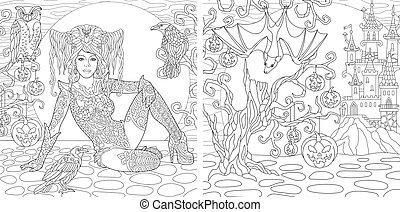 Halloween coloring pages with witch girl