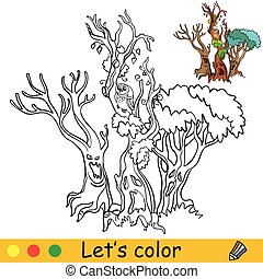 Three scary trees with faces. Coloring book. Halloween cartoon vector illustration isolated on white background. Coloring book page with an example for coloring
