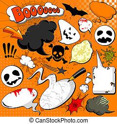 halloween, comico, discorso, bolle