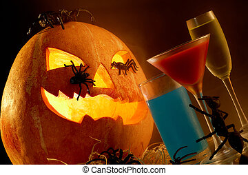 Halloween composition - Image of Halloween pumpkin with...