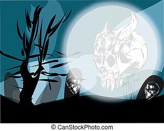 Halloween concept at moonlight
