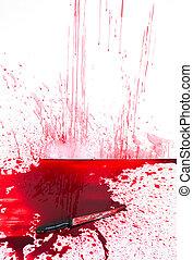 halloween, concept, :, bloedig, mes, met, bloed, splatter