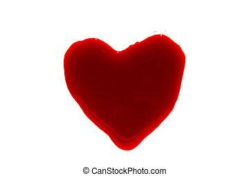 Halloween concept : Blood Heart-shaped splash . - Halloween...