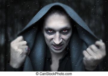 Halloween concept. evil wizard - Portrait horrible fashion ...