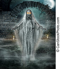 3D illustration of a ghostly wraith hovering at the entrance to an eerily lit yard under a full moon. Halloween concept.