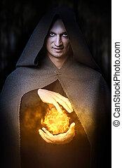 halloween, concept., mannelijke , tovenaar, met, fireball