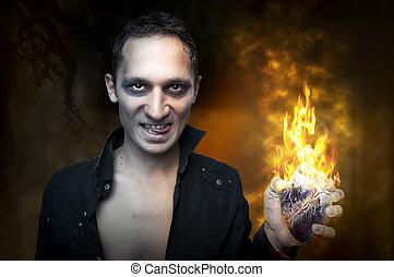 Halloween concept Portrait of handsome man