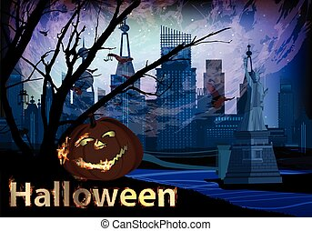 Halloween concept. pumpkin and city