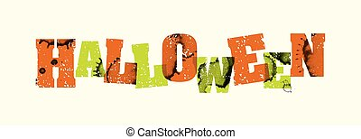 Halloween Concept Stamped Word Art Illustration