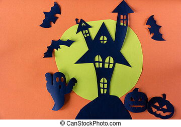 Halloween concept with haunted house castle