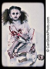 halloween, concepto, imagen, de, fantasma, niña, en, sangre, con, muñeca