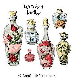 halloween, conjunto, de, marchito, botellas, con, un, poción, y, trophies.