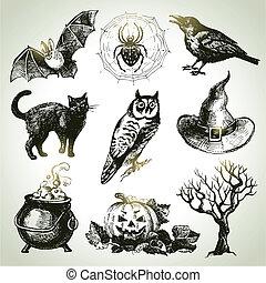 halloween, conjunto, dibujado, mano