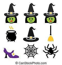 halloween, conjunto, iconos, color, carácter, vector, bruja