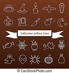 halloween, contorno, icone
