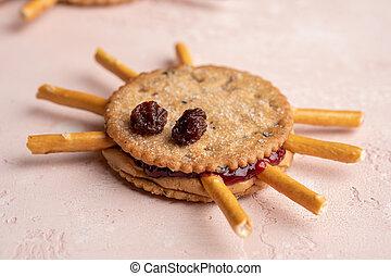 Halloween cookie spiders