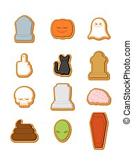 Halloween cookies set. Cookie for terrible holiday. Ghost and pumpkin. Black cat and skull. Tombstone and coffin. Vector illustration