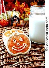 Halloween cookies with milk