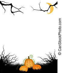 Halloween Copy Space or Background With  and Jack-o-Lanterns