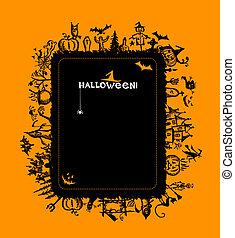 halloween, cornice, disegno, tuo