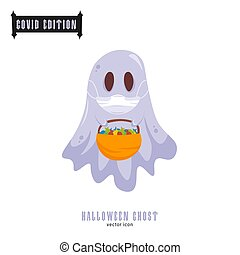Halloween covid goast. Funny character in a face mask. Party decoration. Coronavirus holiday celebration. Editable vector illustration in flat cartoon style isolated on white background