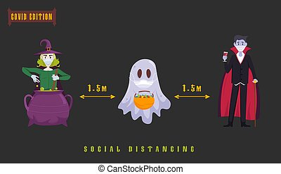 Halloween covid poster. Funny character in a face mask. Party decoration. Coronavirus holiday celebration. Editable vector illustration in flat cartoon style. Horizontal background