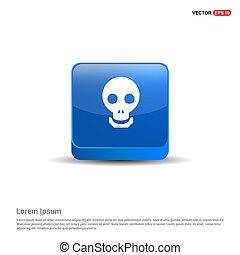 halloween, cráneo, icono, -, 3d, azul, botón