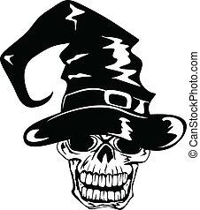 halloween, crâne, chapeau