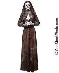3d render of a bloody nun