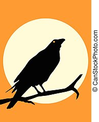 Illustration collection of crow silhouette in different ...