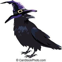 Halloween crow - Halloween witch crow in hat