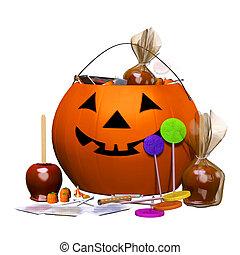 halloween, cubo, calabacera de golosina
