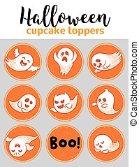 Halloween cupcake toppers with ghosts