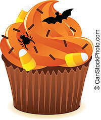 Halloween cupcakePrint - Hallowen Spooky Cupcake with orange...
