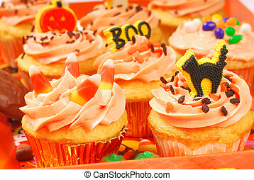 Halloween cupcakes on a serving tray