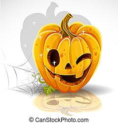 Halloween cut out pumpkin winking Jack