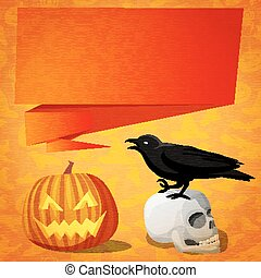 Halloween cute banner with black raven on the human skull and speech bubble for your text.
