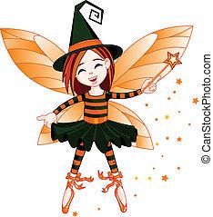 Halloween cute fairy - Illustration of cute Halloween fairy ...