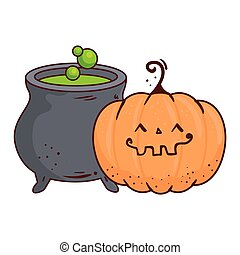 halloween cute pumpkin and cauldron, on white background