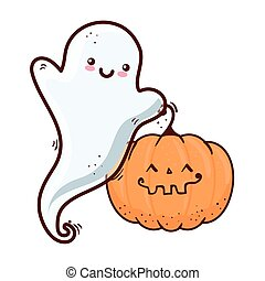 halloween, cute pumpkin and ghost, on white background